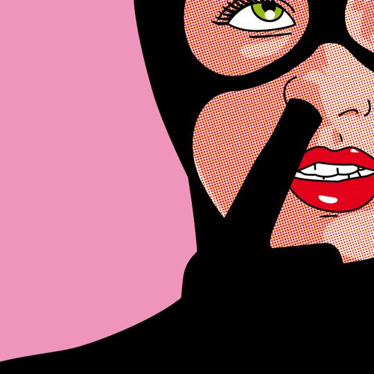 Illustration of Cat Woman picking her nose